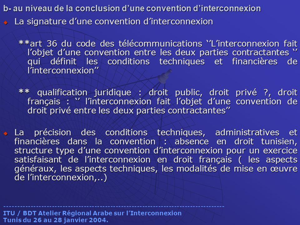 b- au niveau de la conclusion dune convention dinterconnexion La signature dune convention dinterconnexion La signature dune convention dinterconnexio