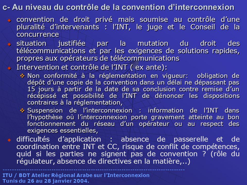 c- Au niveau du contrôle de la convention dinterconnexion convention de droit privé mais soumise au contrôle dune pluralité dintervenants : lINT, le j