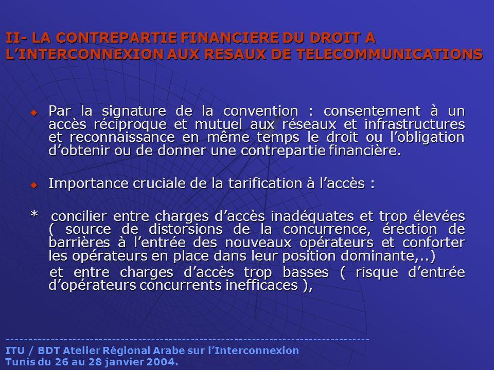 II- LA CONTREPARTIE FINANCIERE DU DROIT A LINTERCONNEXION AUX RESAUX DE TELECOMMUNICATIONS Par la signature de la convention : consentement à un accès