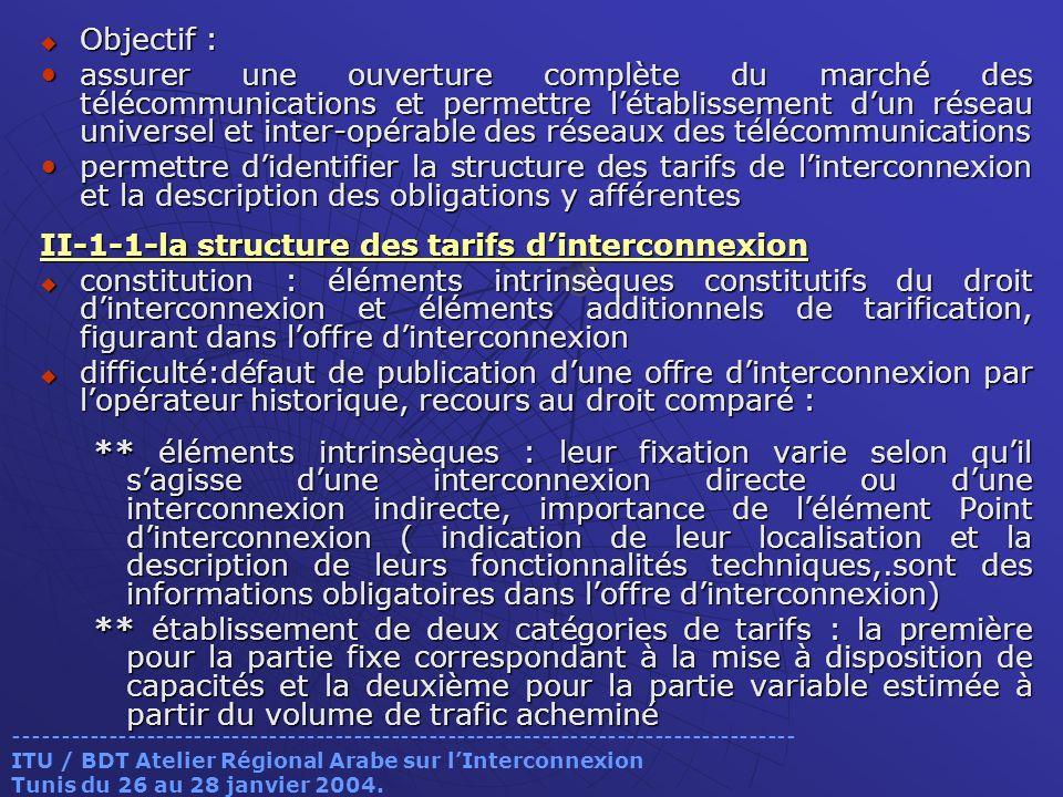 Objectif : Objectif : assurer une ouverture complète du marché des télécommunications et permettre létablissement dun réseau universel et inter-opérable des réseaux des télécommunications assurer une ouverture complète du marché des télécommunications et permettre létablissement dun réseau universel et inter-opérable des réseaux des télécommunications permettre didentifier la structure des tarifs de linterconnexion et la description des obligations y afférentes permettre didentifier la structure des tarifs de linterconnexion et la description des obligations y afférentes II-1-1-la structure des tarifs dinterconnexion constitution : éléments intrinsèques constitutifs du droit dinterconnexion et éléments additionnels de tarification, figurant dans loffre dinterconnexion constitution : éléments intrinsèques constitutifs du droit dinterconnexion et éléments additionnels de tarification, figurant dans loffre dinterconnexion difficulté:défaut de publication dune offre dinterconnexion par lopérateur historique, recours au droit comparé : difficulté:défaut de publication dune offre dinterconnexion par lopérateur historique, recours au droit comparé : ** éléments intrinsèques : leur fixation varie selon quil sagisse dune interconnexion directe ou dune interconnexion indirecte, importance de lélément Point dinterconnexion ( indication de leur localisation et la description de leurs fonctionnalités techniques,.sont des informations obligatoires dans loffre dinterconnexion) ** établissement de deux catégories de tarifs : la première pour la partie fixe correspondant à la mise à disposition de capacités et la deuxième pour la partie variable estimée à partir du volume de trafic acheminé ----------------------------------------------------------------------------------- ITU / BDT Atelier Régional Arabe sur lInterconnexion Tunis du 26 au 28 janvier 2004.