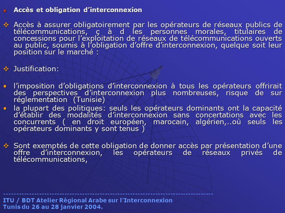 Accès et obligation dinterconnexion Accès et obligation dinterconnexion Accès à assurer obligatoirement par les opérateurs de réseaux publics de téléc