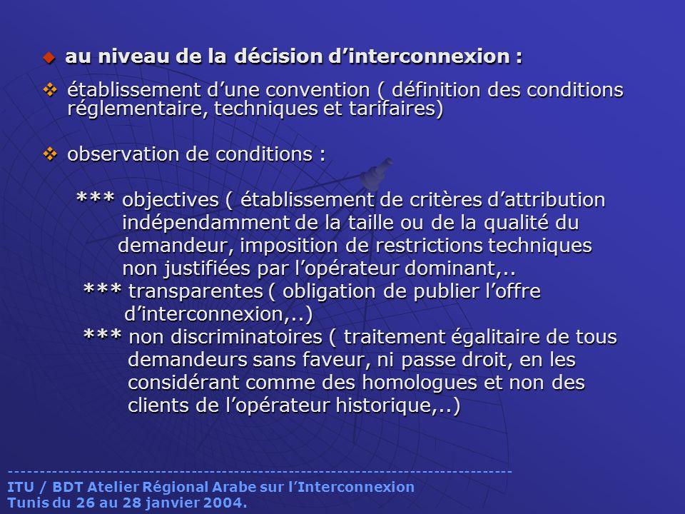 au niveau de la décision dinterconnexion : au niveau de la décision dinterconnexion : établissement dune convention ( définition des conditions réglem