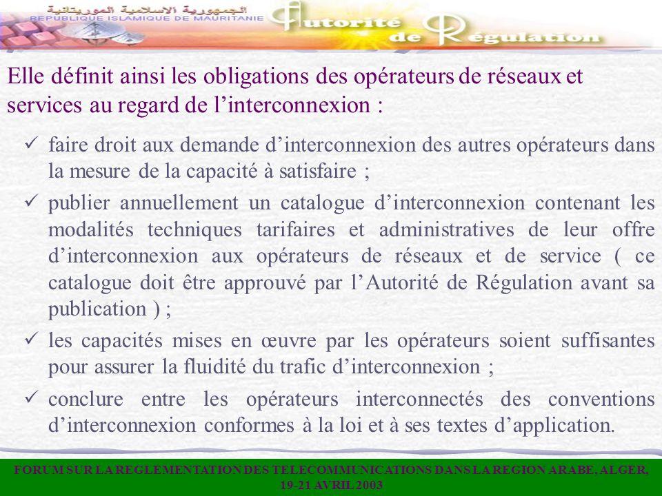Elle définit ainsi les obligations des opérateurs de réseaux et services au regard de linterconnexion : faire droit aux demande dinterconnexion des au