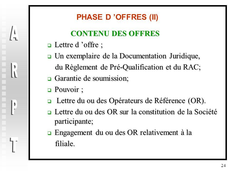 24 PHASE D OFFRES (II) CONTENU DES OFFRES Lettre d offre ; Lettre d offre ; Un exemplaire de la Documentation Juridique, Un exemplaire de la Documenta