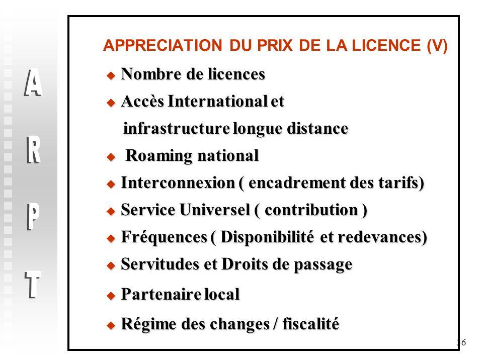 36 APPRECIATION DU PRIX DE LA LICENCE (V) Nombre de licences Nombre de licences Accès International et Accès International et infrastructure longue di