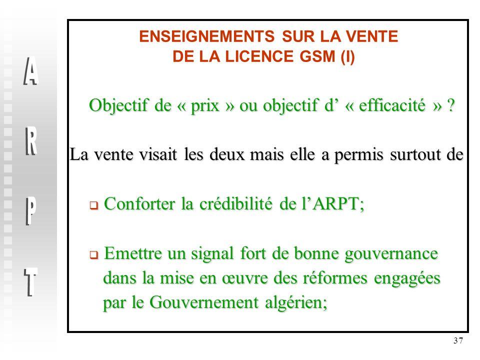 37 ENSEIGNEMENTS SUR LA VENTE DE LA LICENCE GSM (I) Objectif de « prix » ou objectif d « efficacité » ? La vente visait les deux mais elle a permis su