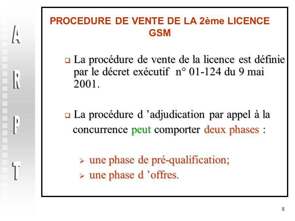 8 PROCEDURE DE VENTE DE LA 2ème LICENCE GSM La procédure de vente de la licence est définie par le décret exécutif n° 01-124 du 9 mai 2001. La procédu