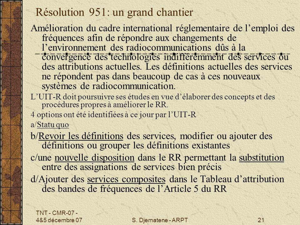 TNT - CMR-07 - 4&5 décembre 07S. Djematene - ARPT21 Résolution 951: un grand chantier Amélioration du cadre international réglementaire de lemploi des