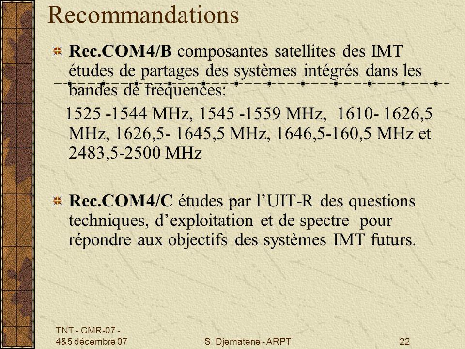 TNT - CMR-07 - 4&5 décembre 07S. Djematene - ARPT22 Recommandations Rec.COM4/B composantes satellites des IMT études de partages des systèmes intégrés