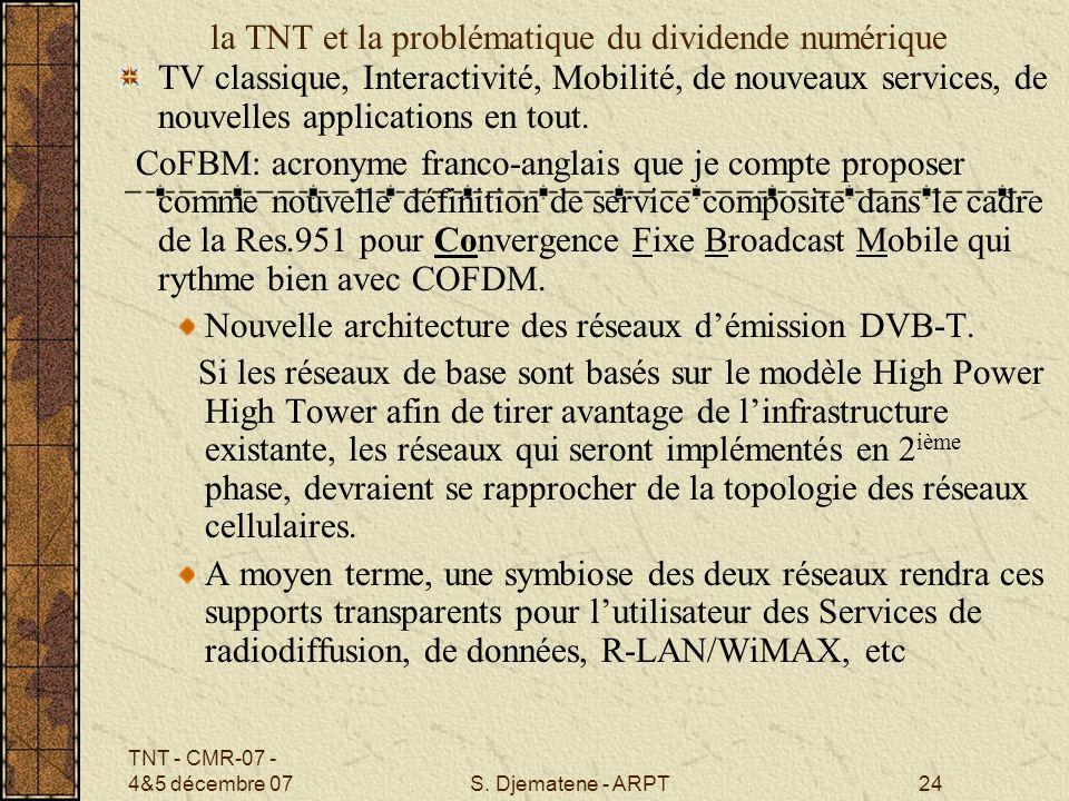 TNT - CMR-07 - 4&5 décembre 07S. Djematene - ARPT24 la TNT et la problématique du dividende numérique TV classique, Interactivité, Mobilité, de nouvea