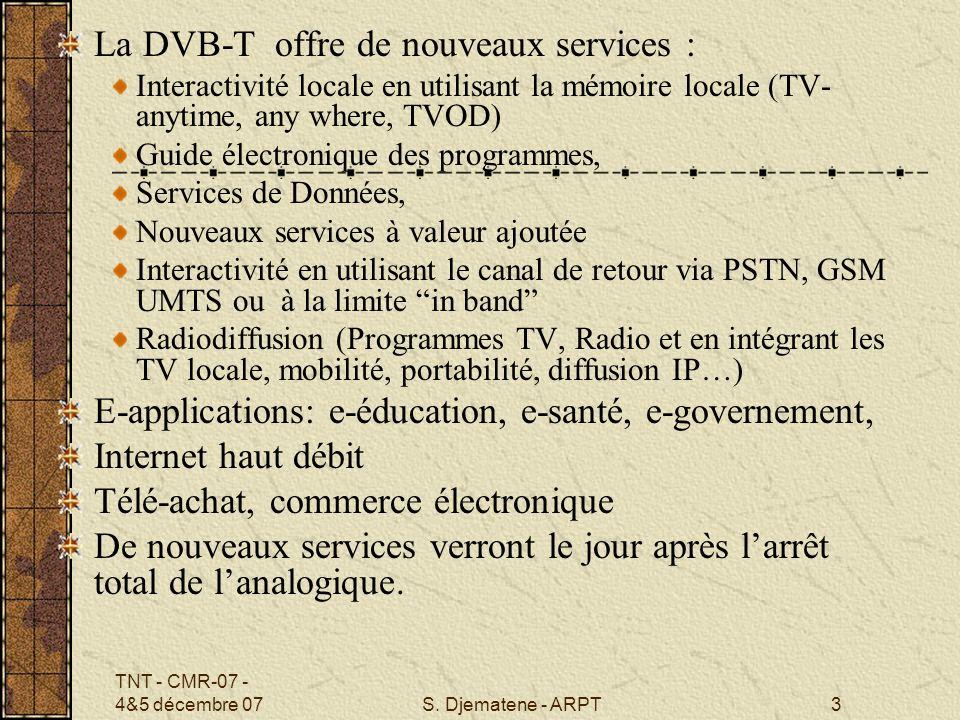 TNT - CMR-07 - 4&5 décembre 07S. Djematene - ARPT3 La DVB-T offre de nouveaux services : Interactivité locale en utilisant la mémoire locale (TV- anyt