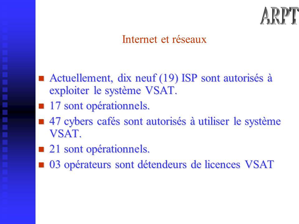 Internet et réseaux Actuellement, dix neuf (19) ISP sont autorisés à exploiter le système VSAT.