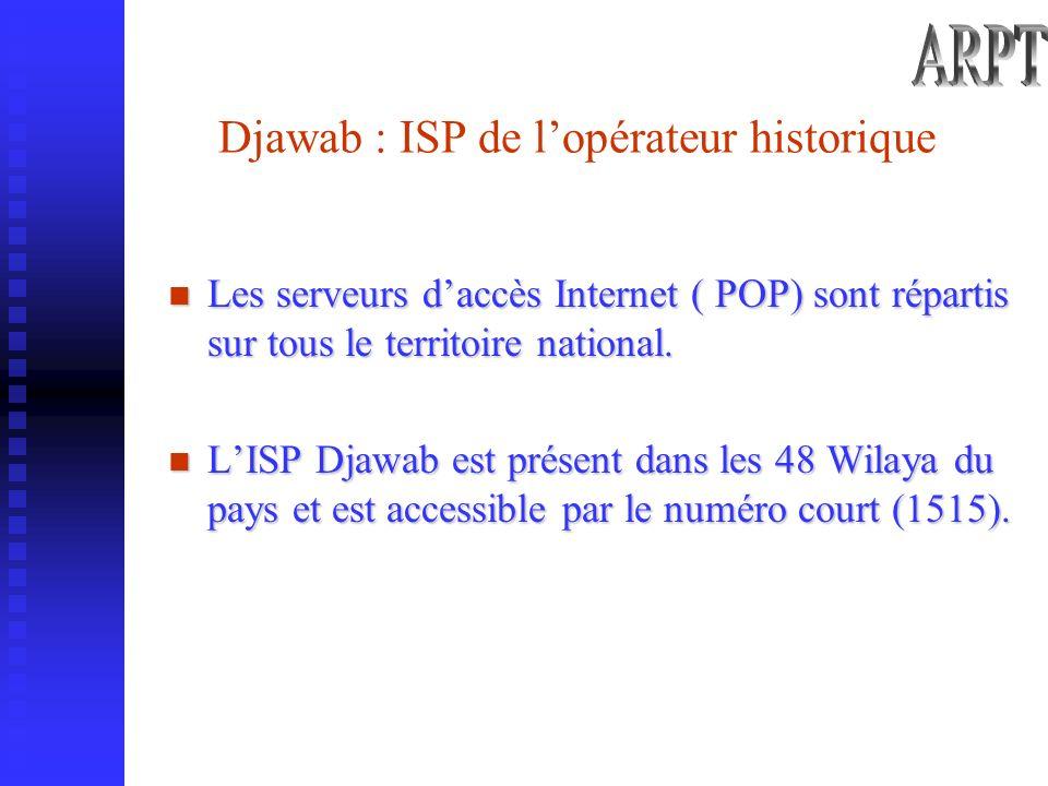 Djawab : ISP de lopérateur historique Les serveurs daccès Internet ( POP) sont répartis sur tous le territoire national.