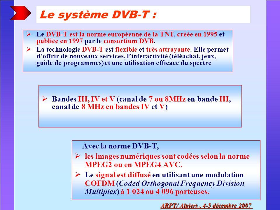 Bandes III, IV et V (canal de 7 ou 8MHz en bande III, canal de 8 MHz en bandes IV et V) Le système DVB-T : Avec la norme DVB-T, les images numériques