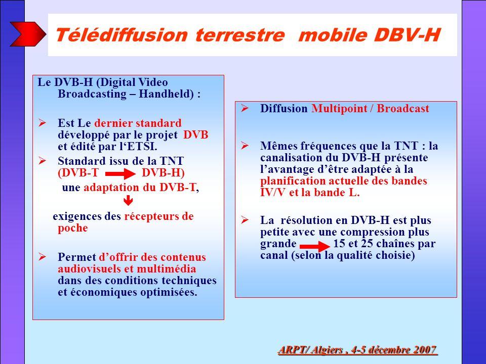 Télédiffusion terrestre mobile DBV-H ARPT/ Algiers, 4-5 décembre 2007 Le DVB-H (Digital Video Broadcasting – Handheld) : Est Le dernier standard dével