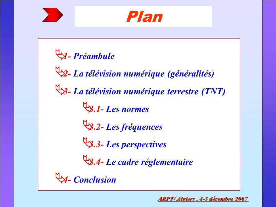 Plan 1- Préambule 2- La télévision numérique (généralités) 3- La télévision numérique terrestre (TNT) 3.1- Les normes 3.2- Les fréquences 3.3- Les per