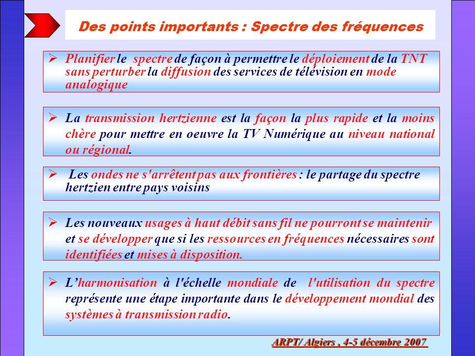 Des points importants : Spectre des fréquences ARPT/ Algiers, 4-5 décembre 2007 Planifier le spectre de façon à permettre le déploiement de la TNT san