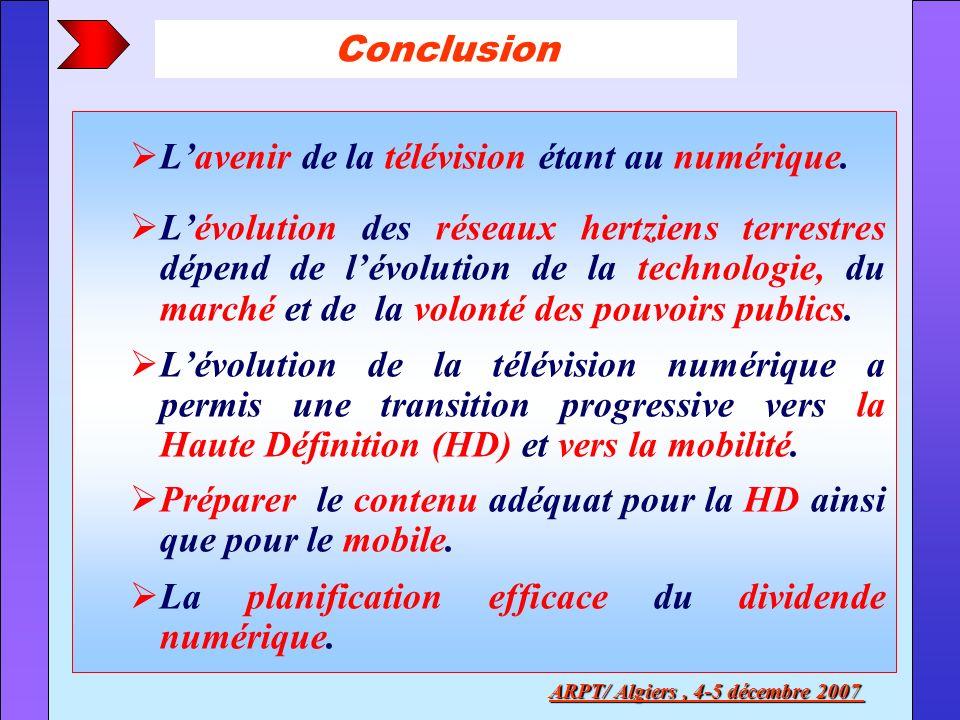 Lavenir de la télévision étant au numérique. Lévolution des réseaux hertziens terrestres dépend de lévolution de la technologie, du marché et de la vo
