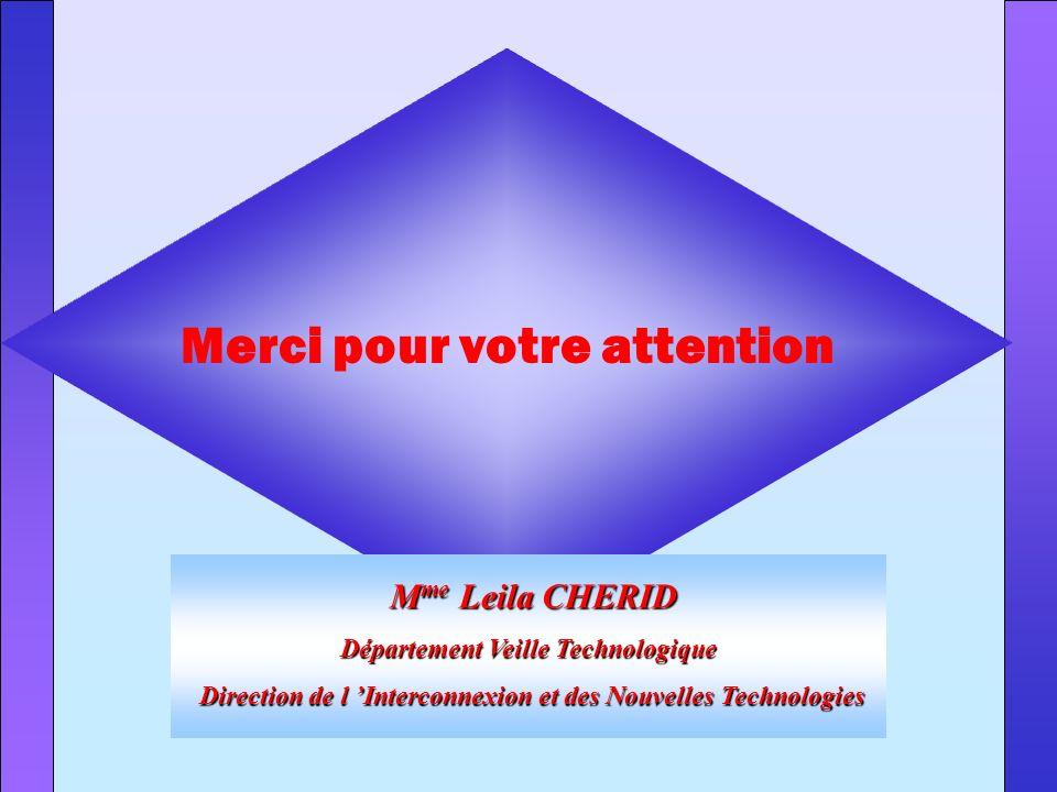 Merci pour votre attention M me Leila CHERID M me Leila CHERID Département Veille Technologique Direction de l Interconnexion et des Nouvelles Technol
