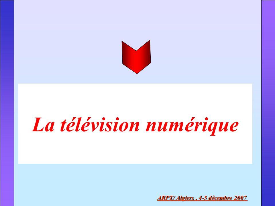 La compression de limage : le MPEG ARPT/ Algiers, 4-5 décembre 2007 MPEG2 (Motion Picture Expert Group norme 2) débit compris entre 3 à 6 Mbit/s (en TVHD, débit entre 18 et 20 Mbit/s) MPEG4 (MPEG4 AdvancedVidéo Codingou H264) amélioration considérable par rapport au MPEG2 objets multimédias interactivité insertion images faibles définitions téléphones portables MPEG-2, standard de la diffusion de la télévision numérique actuelle, il permet la diffusion de signaux TV en définition standard et en Haute Définition MPEG-4 AVC, le futur de la compression de signaux de télévision Codage Source Codage Canal MPEG 2 / MPEG 4 Transmission par satellite DVBS : QPSK Transmission par faisceaux hertziens DVB-T : COFDM Transmission par câble DVB-C : QAM Transmission par r é seaux mobiles DVB-H