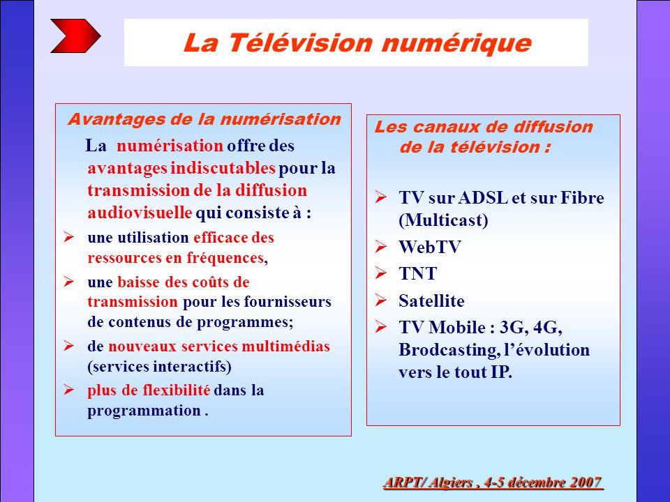 La Télévision numérique Les canaux de diffusion de la télévision : TV sur ADSL et sur Fibre (Multicast) WebTV TNT Satellite TV Mobile : 3G, 4G, Brodca
