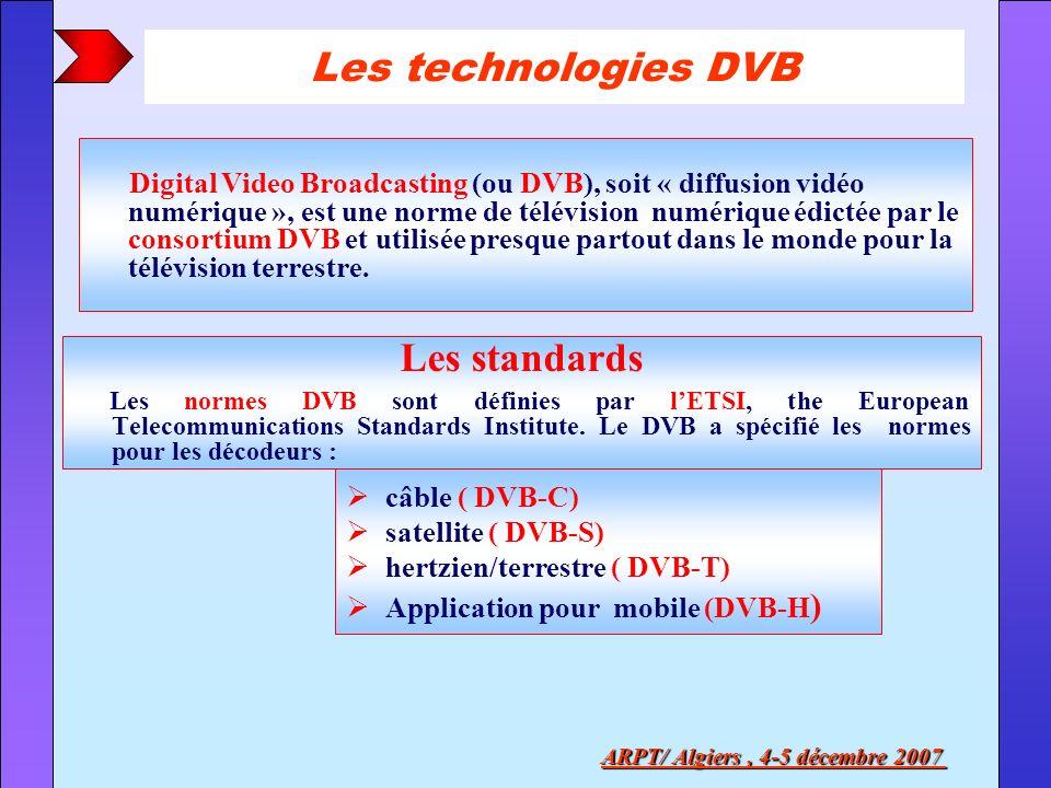 Les technologies DVB Les standards Les normes DVB sont définies par lETSI, the European Telecommunications Standards Institute. Le DVB a spécifié les