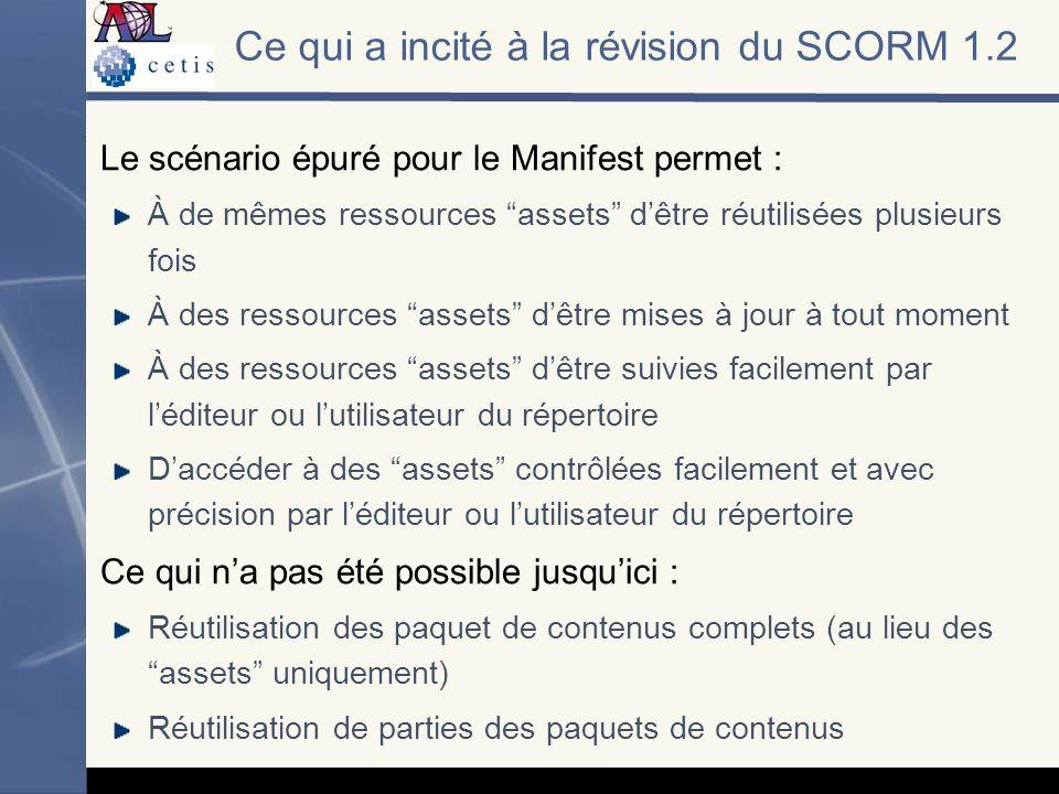Le scénario épuré pour le Manifest permet : À de mêmes ressources assets dêtre réutilisées plusieurs fois À des ressources assets dêtre mises à jour à