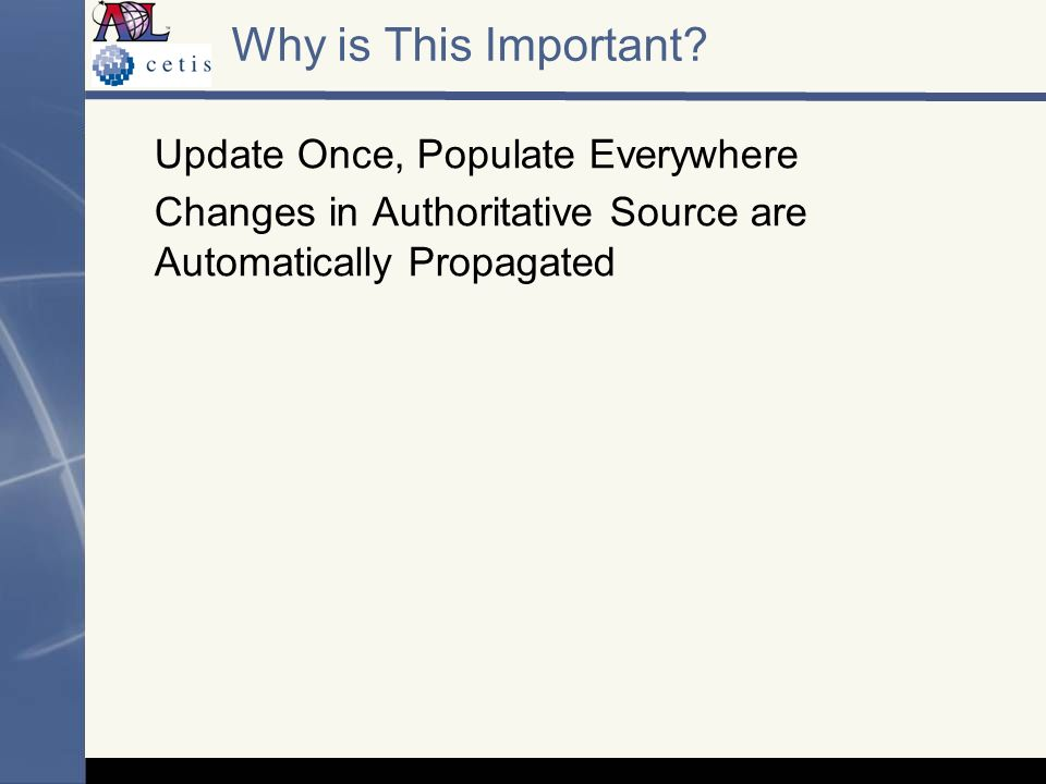 Why is This Important? Update Once, Populate Everywhere Changes in Authoritative Source are Automatically Propagated