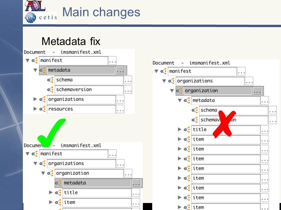 Metadata fix Main changes