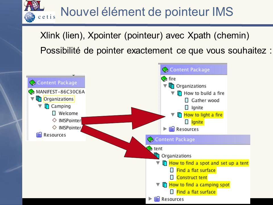 Nouvel élément de pointeur IMS Xlink (lien), Xpointer (pointeur) avec Xpath (chemin) Possibilité de pointer exactement ce que vous souhaitez :