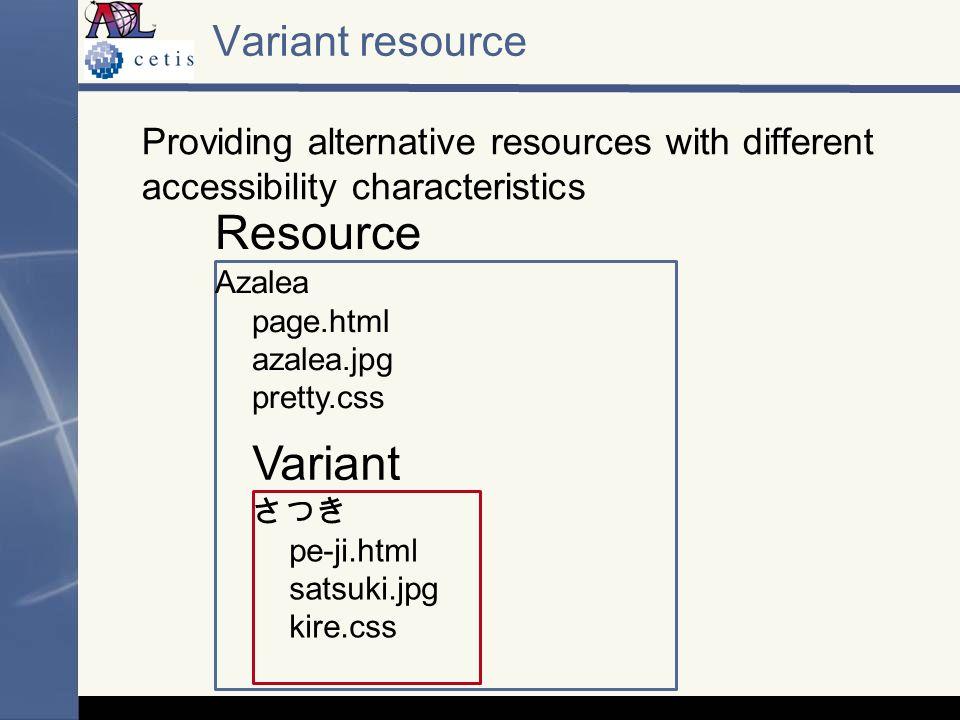 Providing alternative resources with different accessibility characteristics Variant resource Azalea page.html azalea.jpg pretty.css pe-ji.html satsuki.jpg kire.css Resource Variant
