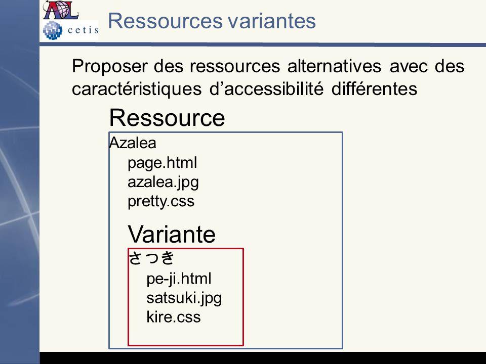 Proposer des ressources alternatives avec des caractéristiques daccessibilité différentes Ressources variantes Azalea page.html azalea.jpg pretty.css pe-ji.html satsuki.jpg kire.css Ressource Variante