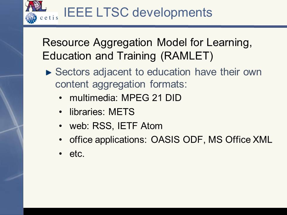 IEEE LTSC developments Resource Aggregation Model for Learning, Education and Training (RAMLET) Sectors adjacent to education have their own content aggregation formats: multimedia: MPEG 21 DID libraries: METS web: RSS, IETF Atom office applications: OASIS ODF, MS Office XML etc.