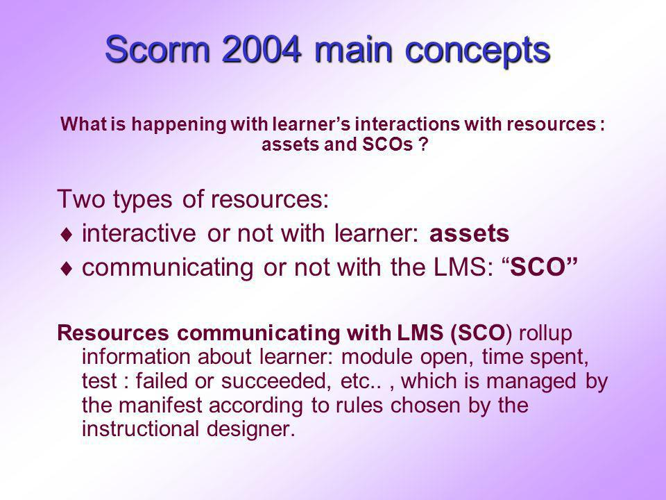 Scorm 2004 main concepts What is happening with learners interactions with resources : assets and SCOs ? Two types of resources: interactive or not wi
