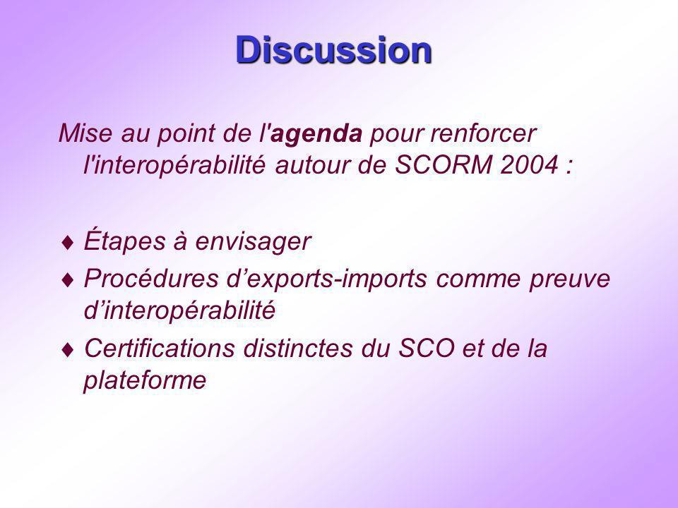 Discussion Mise au point de l agenda pour renforcer l interopérabilité autour de SCORM 2004 : Étapes à envisager Procédures dexports-imports comme preuve dinteropérabilité Certifications distinctes du SCO et de la plateforme