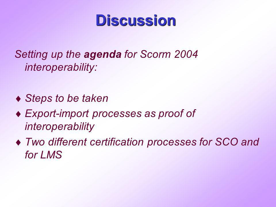 Discussion Setting up the agenda for Scorm 2004 interoperability: Steps to be taken Export-import processes as proof of interoperability Two different certification processes for SCO and for LMS