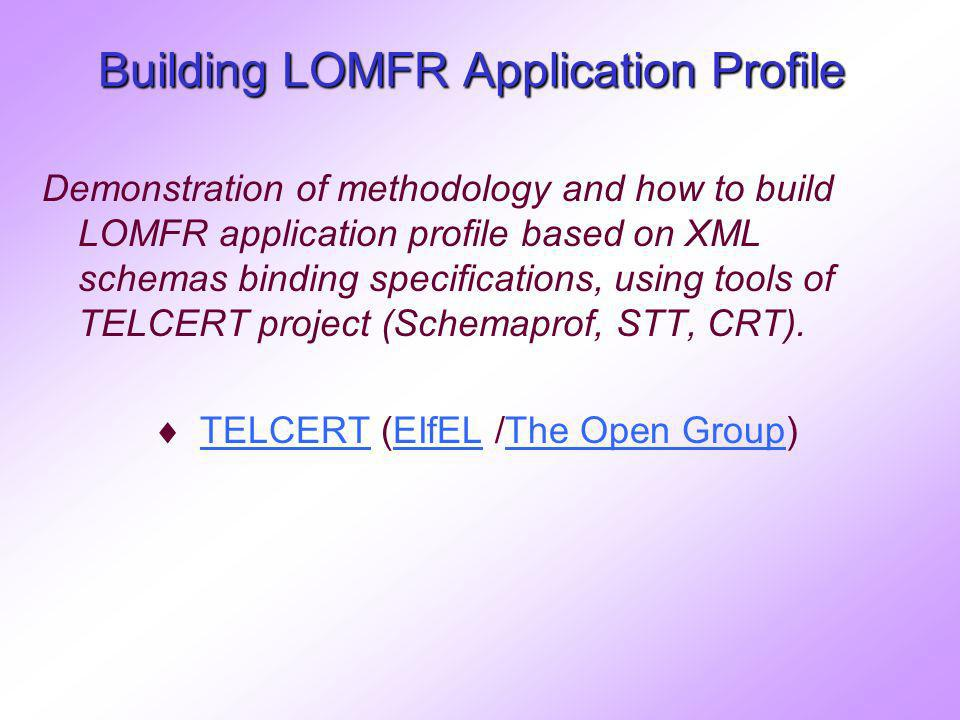 Building LOMFR Application Profile Demonstration of methodology and how to build LOMFR application profile based on XML schemas binding specifications