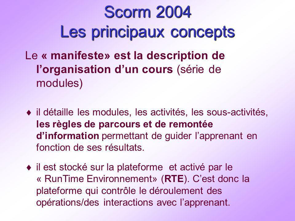 Scorm 2004 Les principaux concepts Que se passe-t-il au niveau des interactions de lapprenant avec les ressources pédagogiques.