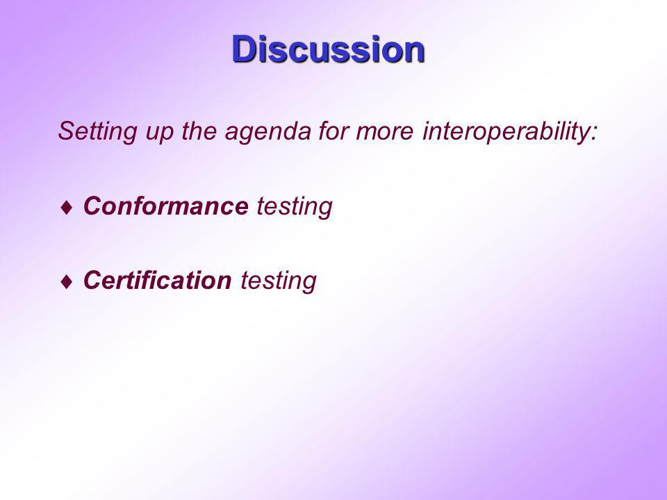 Discussion Setting up the agenda for more interoperability: Conformance testing Certification testing