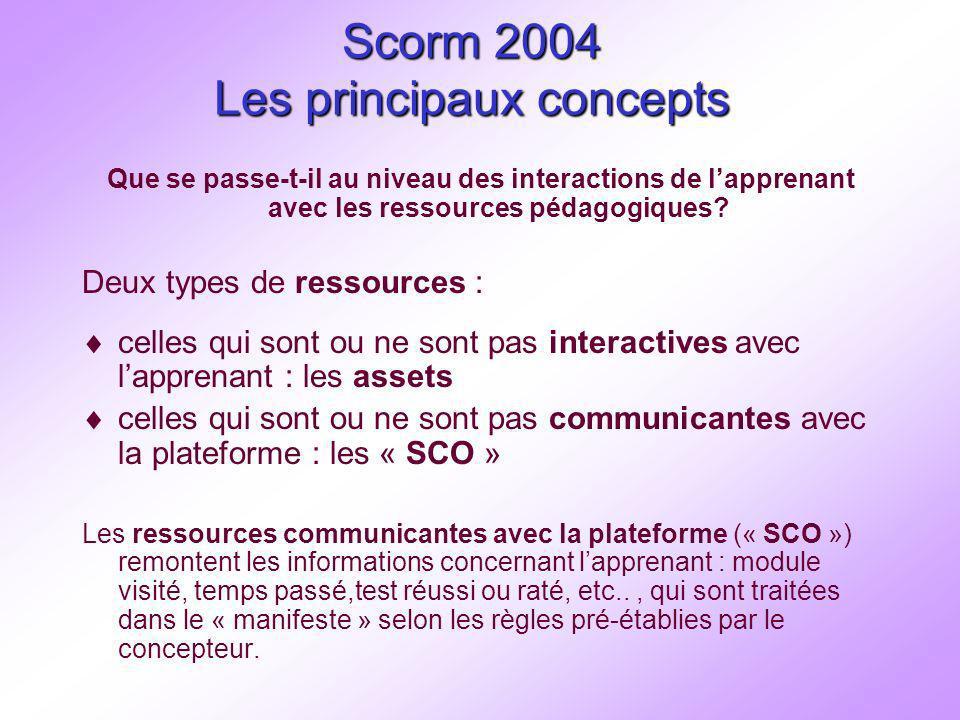 Interopérabilité de paquets Scorm 2004 utilisant le Séquencement Simple Exports de contenus Scormé 2004 1.Utilisation du CRT pour créer un contenu scormé avec un manifeste utilisable par une plateforme scormée Utilisation du RTE pour lexécution du parcours 2.Cas de lexport de Gef-expert 3.Cas de lexport de Scenari