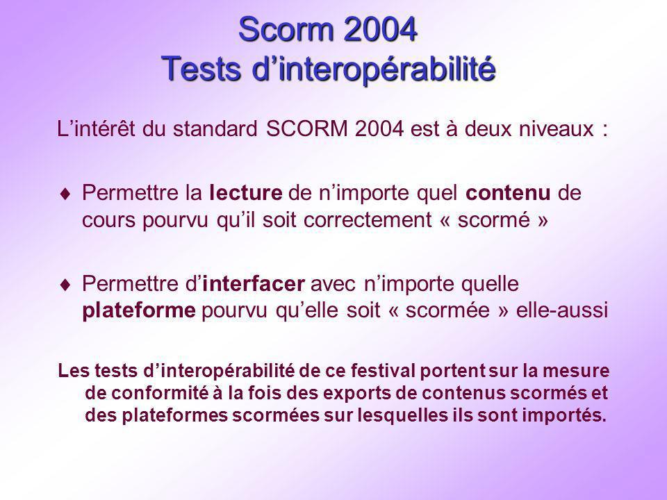 Scorm 2004 Tests dinteropérabilité Lintérêt du standard SCORM 2004 est à deux niveaux : Permettre la lecture de nimporte quel contenu de cours pourvu quil soit correctement « scormé » Permettre dinterfacer avec nimporte quelle plateforme pourvu quelle soit « scormée » elle-aussi Les tests dinteropérabilité de ce festival portent sur la mesure de conformité à la fois des exports de contenus scormés et des plateformes scormées sur lesquelles ils sont importés.