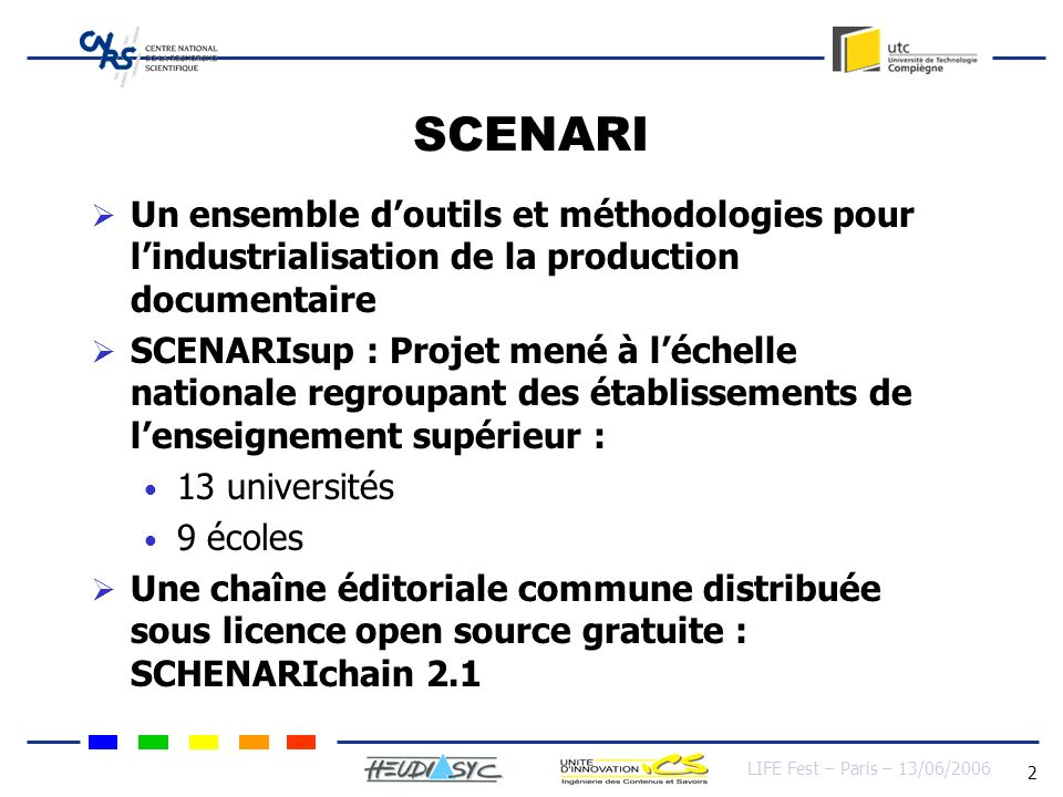 LIFE Fest – Paris – 13/06/2006 13 Benefits of SCORM 2004 LMS Learning content library 1 2 3 n … interact learner Produced data And interpreted data tutor User data storage