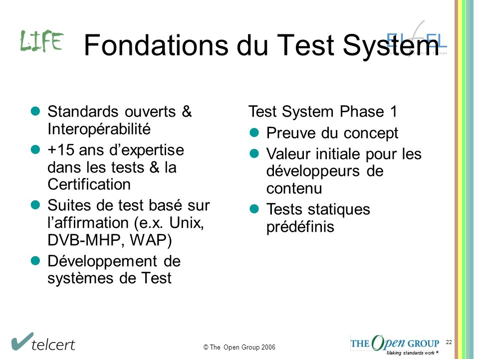 Making standards work ® © The Open Group 2006 Making standards work ® 22 Fondations du Test System Standards ouverts & Interopérabilité +15 ans dexper