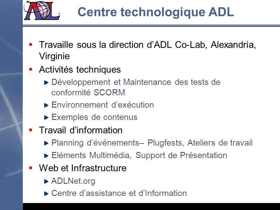 Centre technologique ADL Travaille sous la direction dADL Co-Lab, Alexandria, Virginie Activités techniques Développement et Maintenance des tests de