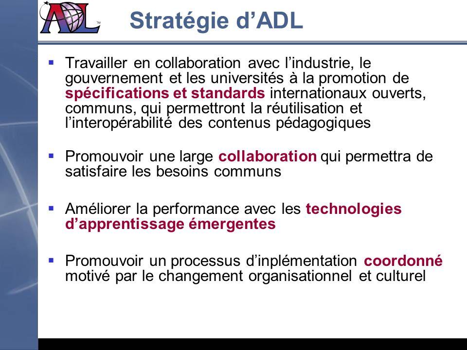 Stratégie dADL Travailler en collaboration avec lindustrie, le gouvernement et les universités à la promotion de spécifications et standards internati