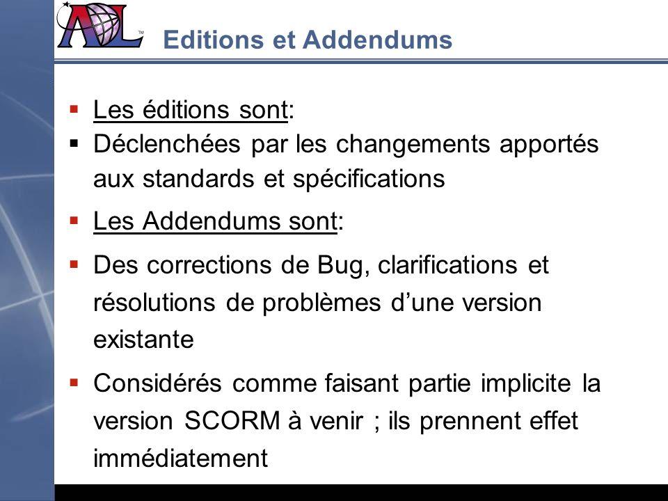 Les éditions sont: Déclenchées par les changements apportés aux standards et spécifications Les Addendums sont: Des corrections de Bug, clarifications