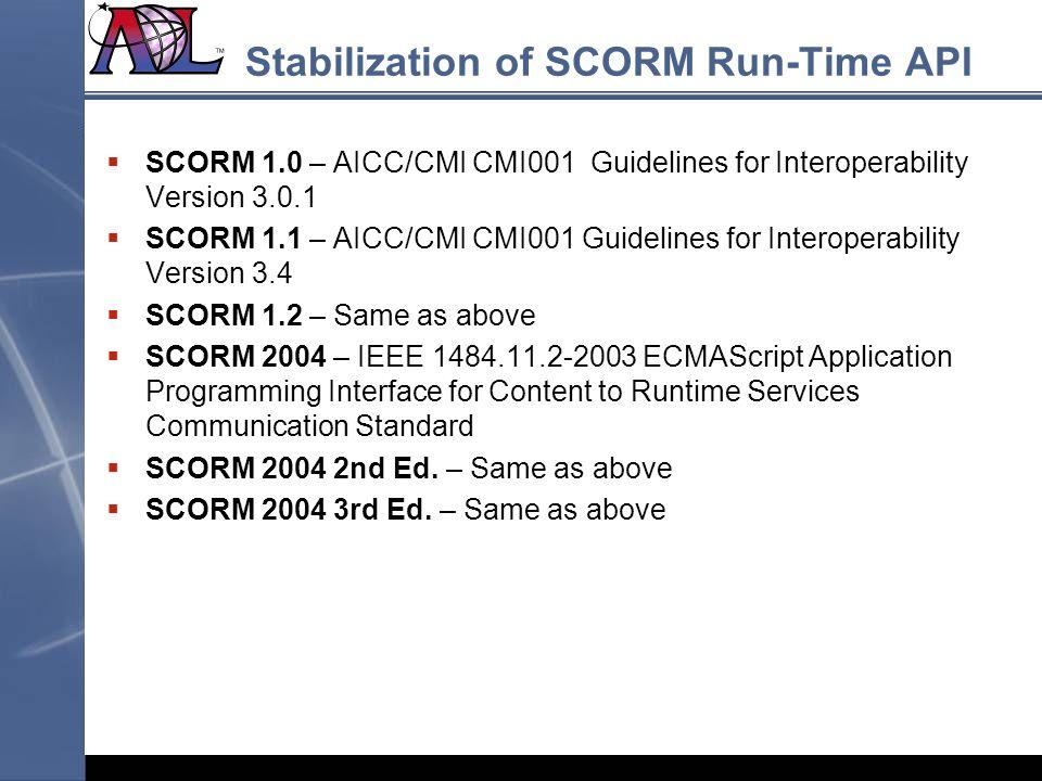 Stabilization of SCORM Run-Time API SCORM 1.0 – AICC/CMI CMI001 Guidelines for Interoperability Version 3.0.1 SCORM 1.1 – AICC/CMI CMI001 Guidelines f