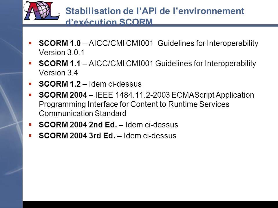 Stabilisation de lAPI de lenvironnement dexécution SCORM SCORM 1.0 – AICC/CMI CMI001 Guidelines for Interoperability Version 3.0.1 SCORM 1.1 – AICC/CM