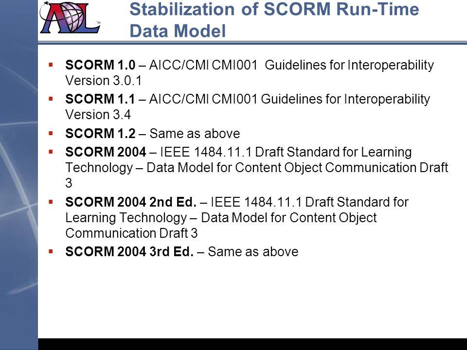 Stabilization of SCORM Run-Time Data Model SCORM 1.0 – AICC/CMI CMI001 Guidelines for Interoperability Version 3.0.1 SCORM 1.1 – AICC/CMI CMI001 Guide