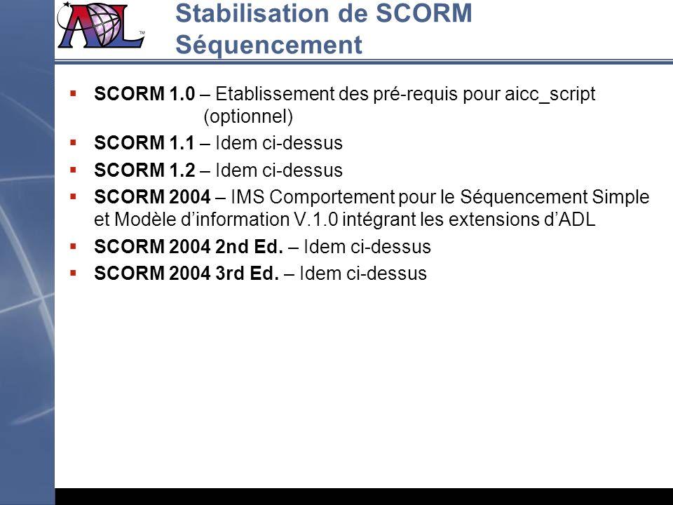 Stabilisation de SCORM Séquencement SCORM 1.0 – Etablissement des pré-requis pour aicc_script (optionnel) SCORM 1.1 – Idem ci-dessus SCORM 1.2 – Idem